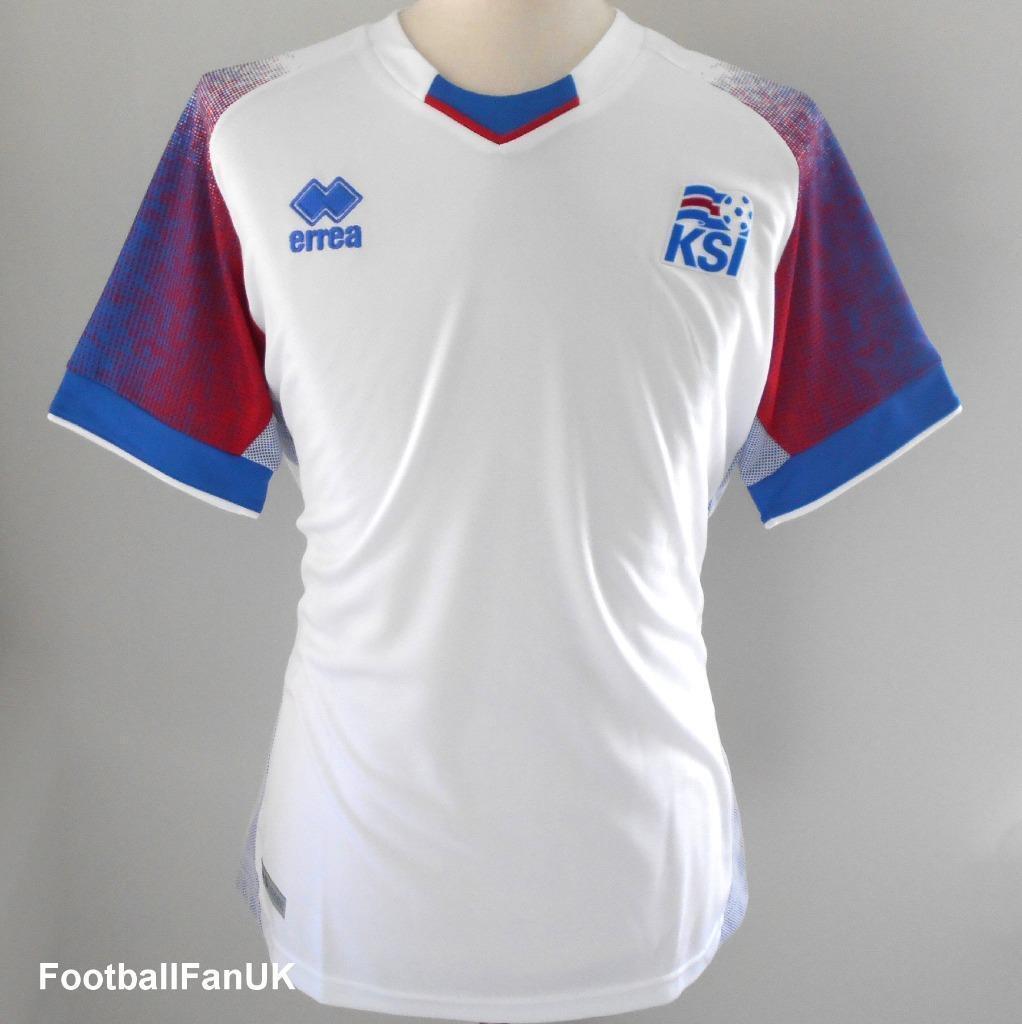 ICELAND Offiziell Errea Men's Away Football Shirt 2018-2019 Island KSI Jersey
