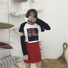 printing hollow long sleeves T-shirt 2017 summer new Korean women's clothing