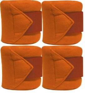 Set-Of-4-ORANGE-Fleece-Polo-Leg-Wraps-NEW-HORSE-TACK