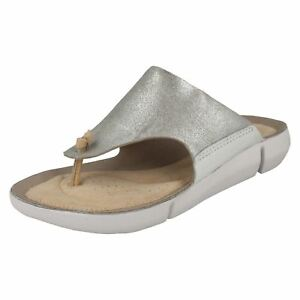 185c5f162 Ladies Clarks Tri Carmen Silver Leather Toe Post Mule Sandals - D Fitting