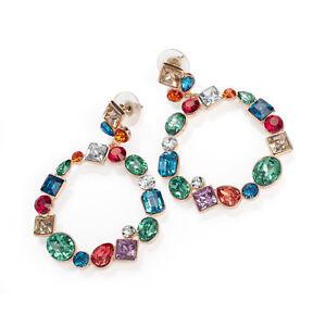 Rose-Gold-Multi-Coloured-Crystal-Hoop-Drop-Earrings-Ladies-Fashion-Jewellery