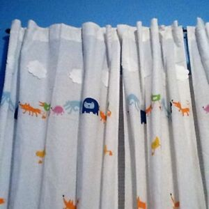 Image Is Loading Ikea Barnslig Rindgans Childrens Curtains Color Cute Animals