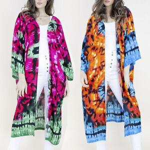 Women's Kimono Bathing Suit Beach Cover Up Tye-Dye Summer Swimsuit Wrap Shawl