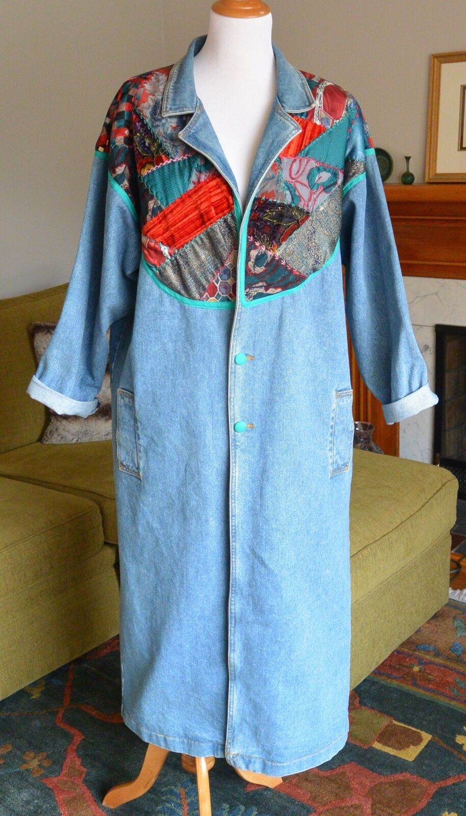 VTG 80s Long Denim Duster Coat Womens XL Hand Quilted Jean Trench Patchwork Maxi