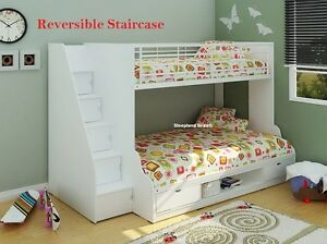 White Trio Bunk Bed With Storage Stairs 3ft Single 4ft Double
