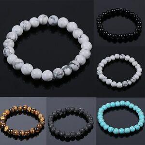High-Quality-Men-039-s-Black-Natural-Lava-Stone-Buddha-Beaded-Bangle-Women-Bracelet
