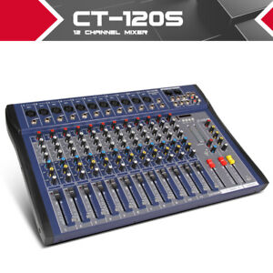 xtuga ct120s usb 12 channels microphone line audio mixer usb xlr input 3 band eq ebay. Black Bedroom Furniture Sets. Home Design Ideas