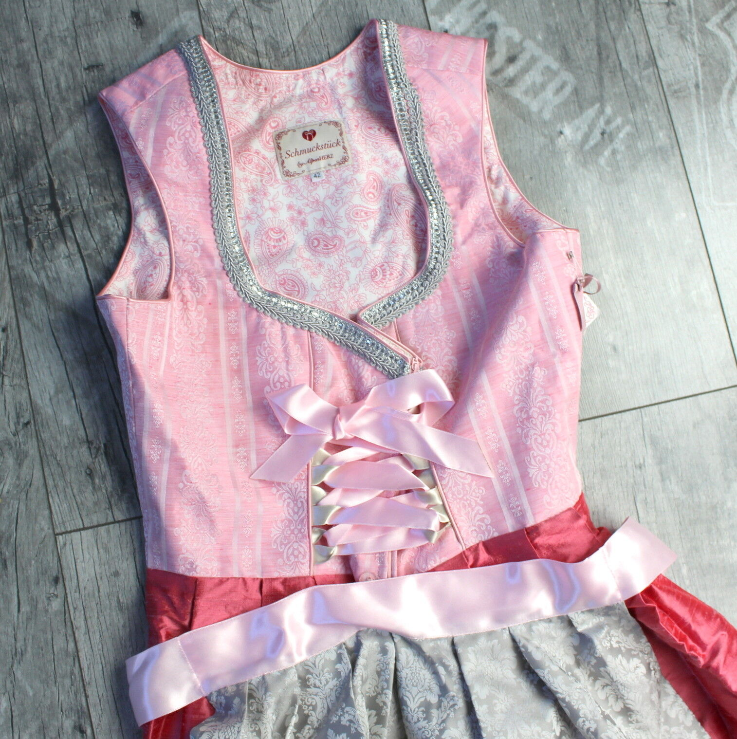 Bávara joya by Alpes corazón MIDI   Sonja  talla 42 XL vestido Oktoberfest r543  comprar barato