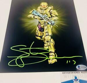 Steve-Downes-signed-METALLIC-8X10-photo-Master-Chief-Beckett-Witness-BAS-M62290