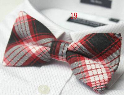 MENS Luxury 2 Layer Red Black Multi Check Tartan Dickie Bow Tie Ties Adjustable