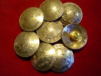 Conchos: 8 Five Peso Mexican Nickle Silver Real Coin, Post & Screw