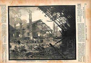 Saint-Dizier-Marnaval-Explosion-Forge-Victimes-GRAVURE-ANTIQUE-PRINT-1883