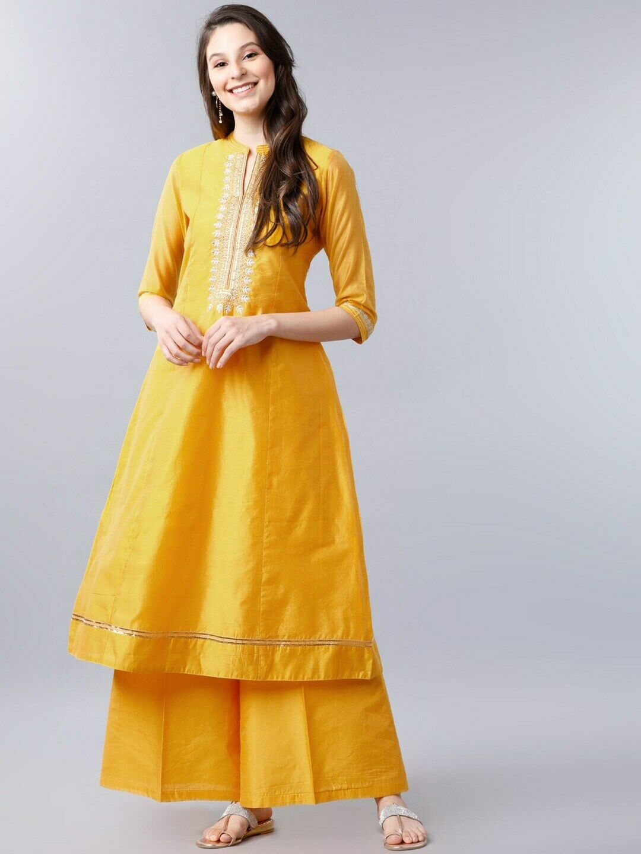Indian Pakistani Yellow Thread Work Kurta Kurti Party Ethnic Women Tunic