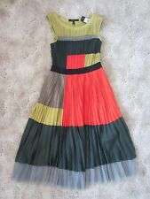 $348 BCBG Runway Collection Designer Silky Classy Black Multi Dress NEW sz.S-M