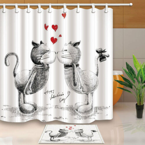 Sketch Cats in Love for Happy Valentines Day Fabric Shower Curtain Bathroom 71In