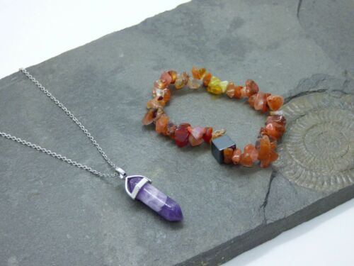 Amethyst point Necklace and Agate with Hematite Bracelet Set Healing Reiki