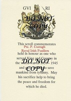 A COPY OF A WW2 MEMORIAL SCROLL MADE TO ORDER IN A4 SIZE