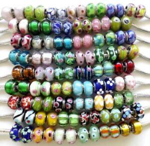 50-Lampwork-Big-Hole-Round-Beads-European-Charm-Bracelets-Assorted-Designs