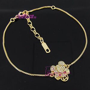 Womens-Grils-Solid-18ct-Yellow-Gold-GF-Frog-Bracelet-Box-Chain-Simulated-Diamond