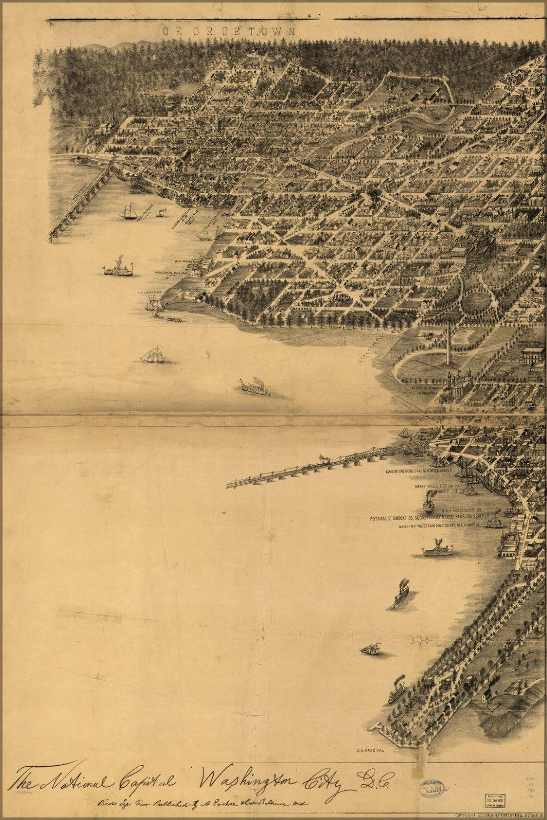 MANIFESTO, molte dimensioni; mappa di National grande città di Washington