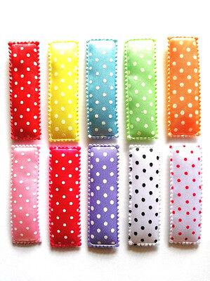 36 pcs Plain assorted colors Satin hair clip cover size 55 mm