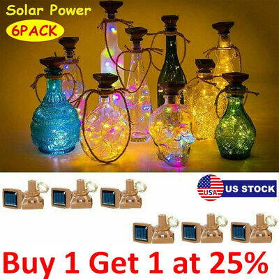 1//6 Pcs 20 Leds Wine Bottle Cork Party Wires Solar Powered Starry Fairy Lights