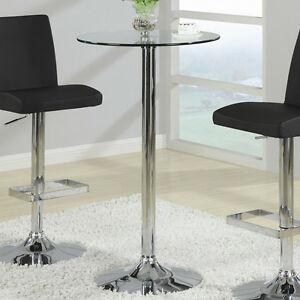 Tempered glass top sturdy chrome metal base small round for How to make a sturdy table base