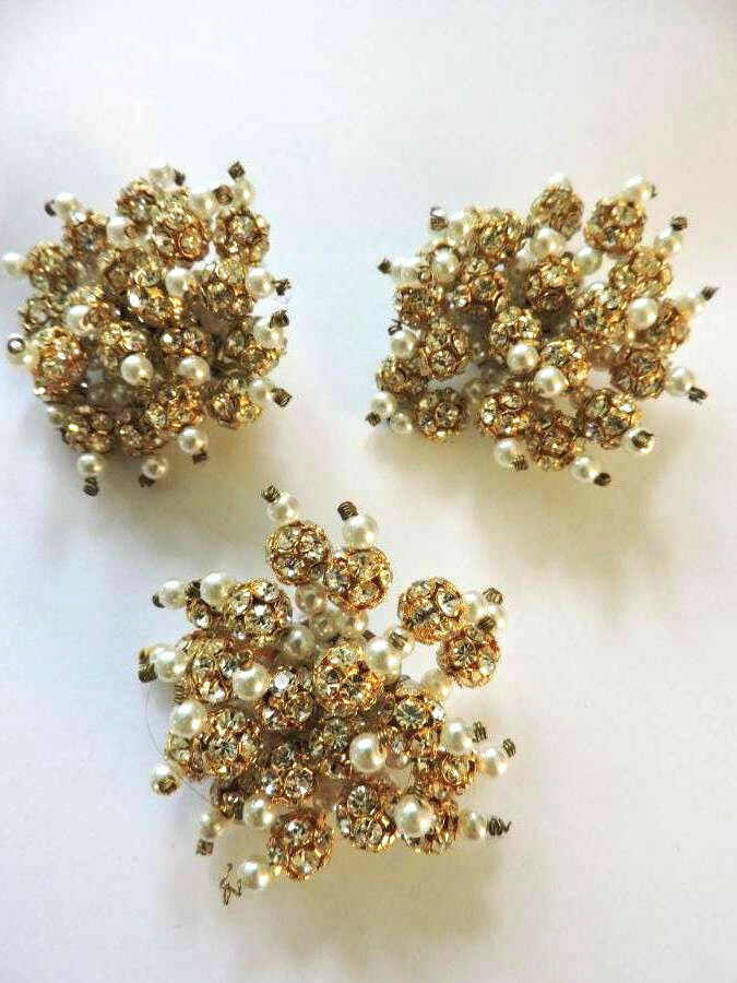 Stunning Vintage Crystal Rhinestone Faux Pearl Go… - image 8