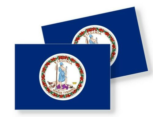 Virginia Flag Stickers Flag Decals Vinyl Indoor Outdoor Stickers Set of 4