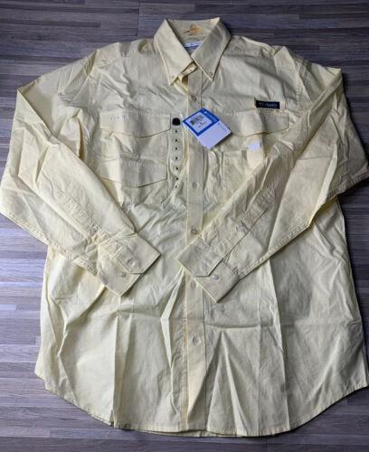 Columbia PFG Omni-Shade Bonefish L//S Shirt Men's MEDIUM Yellow FM7299-707 NWT