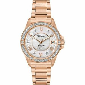 Bulova-Women-039-s-Crystal-Rose-Gold-98R258-Silver-Dial-Quartz-Analog-Wrist-Watch