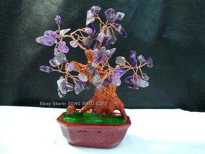 Japanese Lucky Chinese Bonsai Natural Quartz Agate Stone Bead Purple Tree NEW