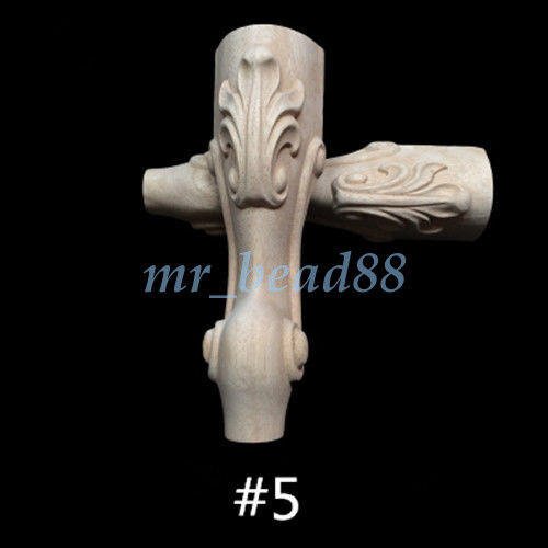 Wood Carved Furniture European Style Foot Leg Unpainted for Cabinet Sofa Chair