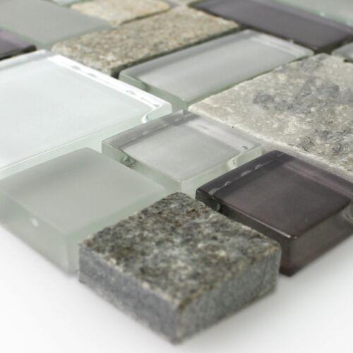 MUSTER Glasmosaik mit Naturstein Grau Braun