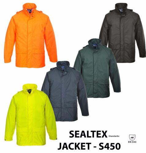 Portwest Premium Imperméable Sealtex Clasic Pluie Veste Manteau à capuche Workwear S450