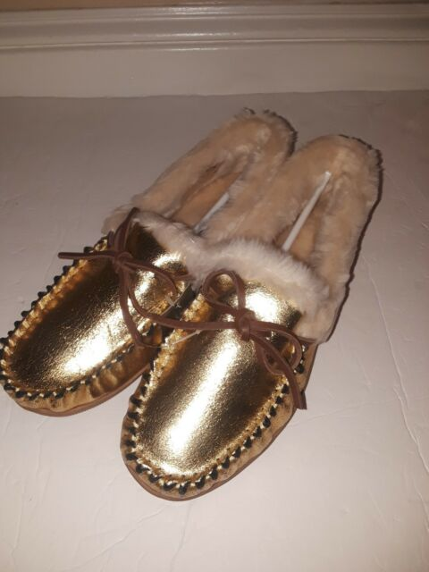 c13dddb3482 Details about NWT J Crew Women's Crackled METALLIC GOLD Suede Lodge  Moccasins, Sz 8