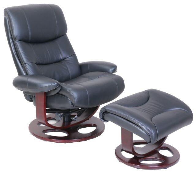 Barcalounger Dawson Frampton Black Leather Pedestal Recliner Chair And  Ottoman