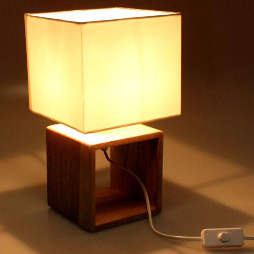 Tischlampe Nachttischlampe Holzlampe Tischleuchte Deko Holz Tisch Lampe 29cm