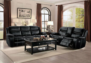 Details About New Modern Living Room Couch Set Black Faux Leather Recliner Sofa Loveseat F6a