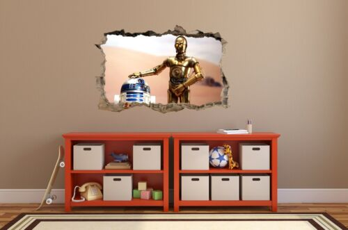 WALL STICKERS HOLE IN THE WALL 3D STAR WARS R2D2 C3PO sticker to the room 72