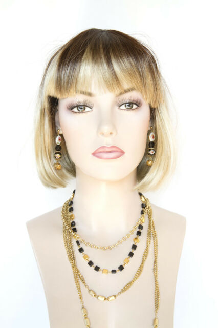 Coffee Front/Champagne blond Blonde Medium Straight Costume Fun Color Wigs