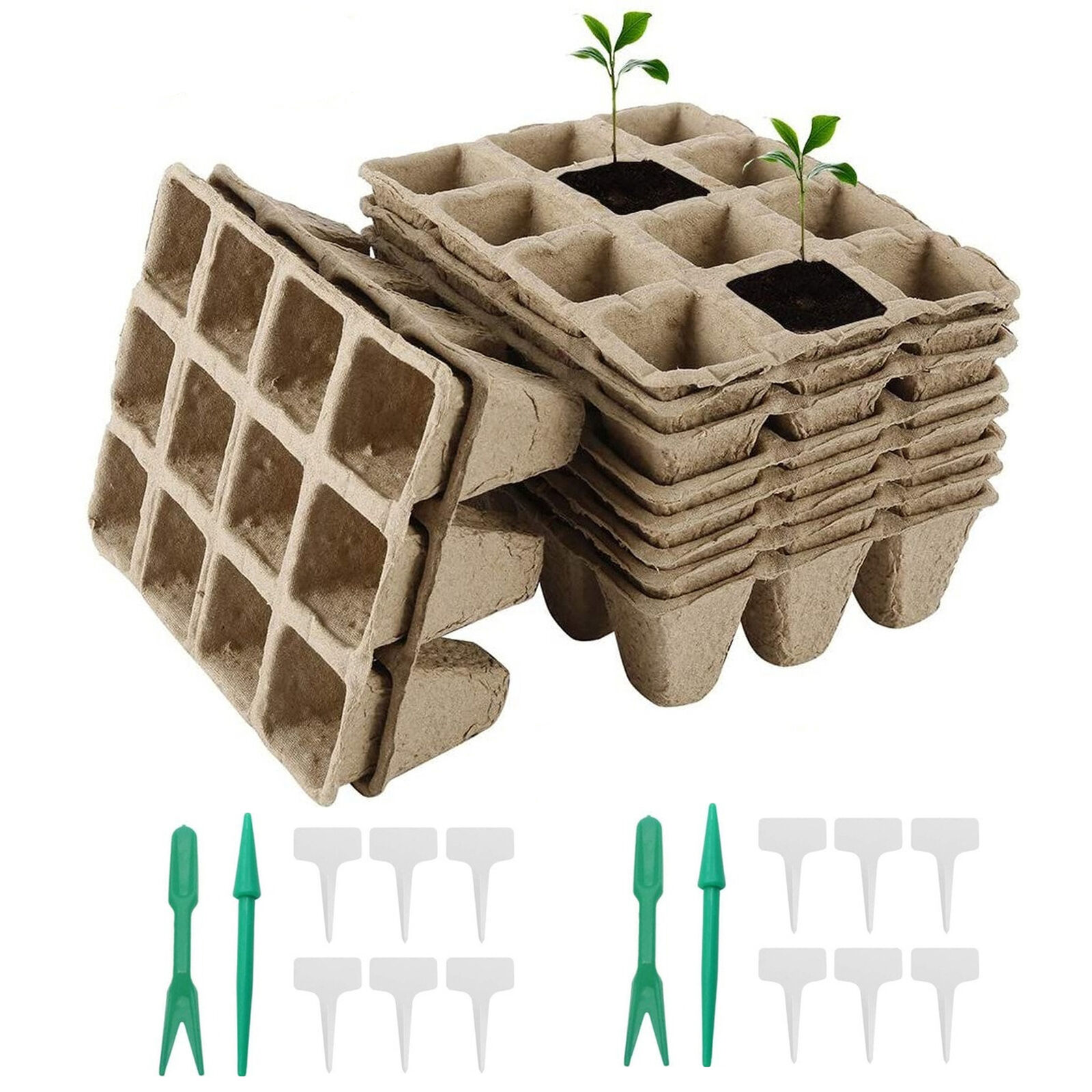 16pcs Seed Starter Trays Biodegradable Pots Germination Tray with 12 Plant Label