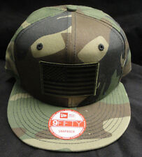 New Era NE400 Flat Bill Camo Snapback Hat/Cap With Green American Flag Patch