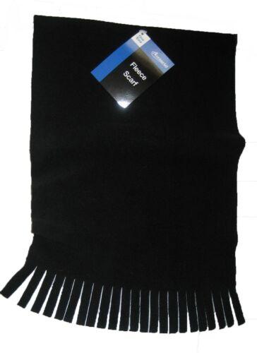 Black or Grey Fleece Scarf with Tassels Warm Soft Feel One Size