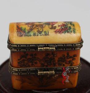 Rare-Small-Unique-Vintage-Antique-Camel-Bone-Plum-Trinket-Jewelry-Box