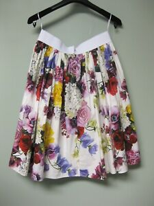 745-Dolce-amp-Gabbana-AUTH-NEW-Mixed-Floral-Poplin-Elastic-Band-Flared-Skirt-42