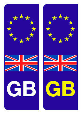 2 EURO GB BADGES UNION JACK NUMBER PLATE VINYL STICKERS FREE DELIVERY
