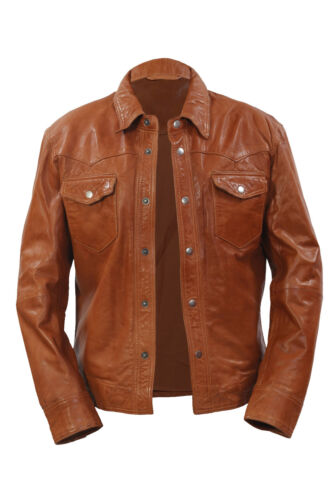 Infinity Men/'s Retro Denim Style SlimFit Casual Tan Leather Shirt Jeans Jacket