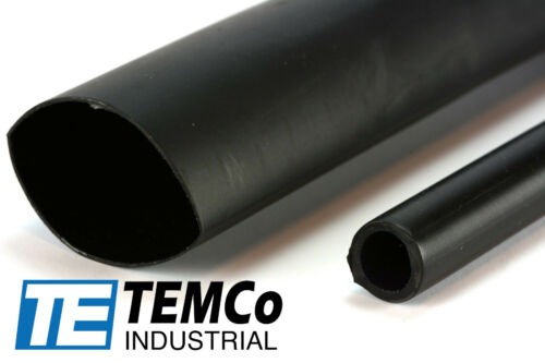 """2x TEMCo 1-3//16/"""" Marine Heat Shrink Tube 3:1 Adhesive Glue Lined 12/"""" long BLACK"""