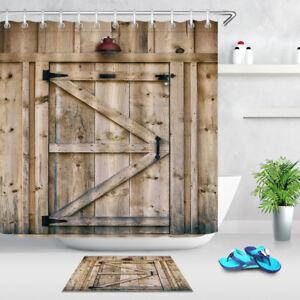 Image Is Loading Shower Curtain Wooden Warehouse  Door Light Waterproof Fabric